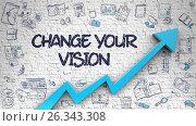 Купить «Change Your Vision Drawn on Brick Wall. 3D.», иллюстрация № 26343308 (c) Илья Урядников / Фотобанк Лори