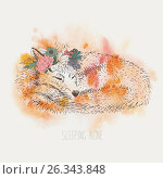 Cute sleeping Fox. watercolor. graphics. freehand drawing. Стоковая иллюстрация, иллюстратор Юлия Дакалова / Фотобанк Лори
