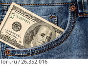 Купить «Dollar banknotes in jeans pocket closeup», фото № 26352016, снято 6 мая 2017 г. (c) Валерий Бочкарев / Фотобанк Лори