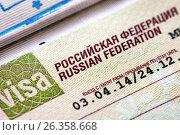 Купить «Российская виза в загранпаспорте», фото № 26358668, снято 25 августа 2016 г. (c) Александр Гаценко / Фотобанк Лори