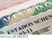 Купить «Шенгенская виза в паспорте, выданная консульством Испании», фото № 26358672, снято 2 августа 2015 г. (c) Александр Гаценко / Фотобанк Лори