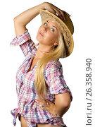 Attractive young woman in cowboy dress and hat, фото № 26358940, снято 6 июля 2011 г. (c) Tatjana Romanova / Фотобанк Лори