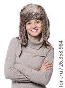 Young girl in a winter hat on white. Стоковое фото, фотограф Tatjana Romanova / Фотобанк Лори