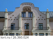 Купить «Riga, Miera street 54, Art Nouveau, elements of the facade», фото № 26360024, снято 14 мая 2017 г. (c) Andrejs Vareniks / Фотобанк Лори