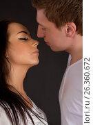 Close up of Young Couple in love kissing, фото № 26360672, снято 4 мая 2012 г. (c) Tatjana Romanova / Фотобанк Лори