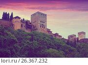 Towers of Alcazaba at Alhambra in dawn time. Granada (2016 год). Стоковое фото, фотограф Яков Филимонов / Фотобанк Лори