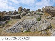 Купить «Rocky landscape. Gobustan, Azerbaijan», фото № 26367628, снято 26 апреля 2017 г. (c) Аркадий Захаров / Фотобанк Лори