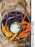 Variety of french fries. Стоковое фото, фотограф Natasha Breen / Фотобанк Лори