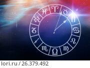 Купить «Composite image of digitally generated image of clock with various zodiac signs», иллюстрация № 26379492 (c) Wavebreak Media / Фотобанк Лори