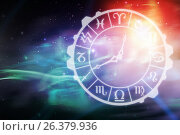 Купить «Composite image of digital image of clock with various zodiac signs», иллюстрация № 26379936 (c) Wavebreak Media / Фотобанк Лори