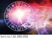 Купить «Composite image of graphic image of clock with various zodiac signs», иллюстрация № 26380956 (c) Wavebreak Media / Фотобанк Лори