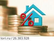 Купить «Синий домик на фоне столбиков из монет», фото № 26383928, снято 12 февраля 2016 г. (c) Сергеев Валерий / Фотобанк Лори