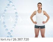 Купить «sporty woman with dna chain», фото № 26387720, снято 23 мая 2019 г. (c) Wavebreak Media / Фотобанк Лори