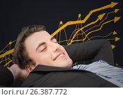 Купить «Business man lying back against yellow graph doodle and grey background», фото № 26387772, снято 25 февраля 2020 г. (c) Wavebreak Media / Фотобанк Лори