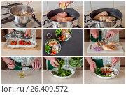 Купить «A Step by Step Collage of Making Buddha Bowl», фото № 26409572, снято 30 мая 2017 г. (c) Татьяна Ворона / Фотобанк Лори
