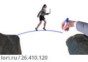 Купить «Hand drawing bridge under businesswoman», фото № 26410120, снято 28 мая 2020 г. (c) Elnur / Фотобанк Лори