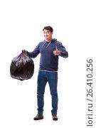 Купить «Man with garbage sack isolated on white», фото № 26410256, снято 6 марта 2017 г. (c) Elnur / Фотобанк Лори