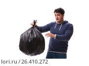 Купить «Man with garbage sack isolated on white», фото № 26410272, снято 6 марта 2017 г. (c) Elnur / Фотобанк Лори