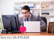 Купить «Businessman in saint valentine concept in office», фото № 26410628, снято 3 февраля 2017 г. (c) Elnur / Фотобанк Лори