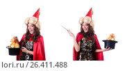 Купить «Female magician isolated on white», фото № 26411488, снято 22 ноября 2012 г. (c) Elnur / Фотобанк Лори