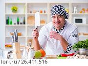 Купить «Young male cook working in the kitchen», фото № 26411516, снято 20 февраля 2017 г. (c) Elnur / Фотобанк Лори