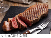 Купить «Grilled marbled beef steak», фото № 26412988, снято 4 августа 2016 г. (c) Stockphoto / Фотобанк Лори