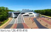 Купить «Aerial view of the Amber Hall theatre in Svetlogorsk resort town, Russia», видеоролик № 26419416, снято 31 мая 2017 г. (c) Константин Тронин / Фотобанк Лори