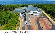 Купить «Aerial view of the Amber Hall theatre in Svetlogorsk resort town, Russia», видеоролик № 26419432, снято 31 мая 2017 г. (c) Константин Тронин / Фотобанк Лори