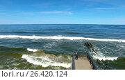 Купить «Bird-eye view of the promenade of Svetlogorsk resort town, Russia», видеоролик № 26420124, снято 31 мая 2017 г. (c) Константин Тронин / Фотобанк Лори