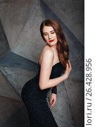 Beautiful model posing in luxury black dres. Стоковое фото, фотограф Дарья Зуйкова / Фотобанк Лори