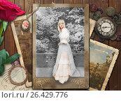 Винтажный коллаж с девушкой, уходящей в старую фотографию и приглашающей за собой. Стоковое фото, фотограф Виктория Ратникова / Фотобанк Лори