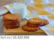 Овсяное печенье с молоком. Стоковое фото, фотограф Александр Палехов / Фотобанк Лори