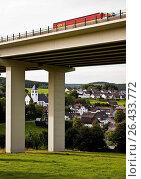 Купить «Bleche village and A45 motorway bridge, Germany, North Rhine-Westphalia, Sauerland, Drolshagen», фото № 26433772, снято 22 февраля 2016 г. (c) age Fotostock / Фотобанк Лори