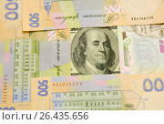 Купить «Купюра номиналом сто долларов окружена купюрами номиналом пятьсот гривен», фото № 26435656, снято 14 мая 2017 г. (c) Игорь Кутателадзе / Фотобанк Лори