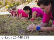 Купить «Group of fit women exercising in the boot camp», фото № 26448728, снято 16 марта 2017 г. (c) Wavebreak Media / Фотобанк Лори