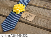 Купить «Close up of necktie with greetings», фото № 26449332, снято 27 мая 2018 г. (c) Wavebreak Media / Фотобанк Лори