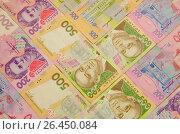 Купить «Купюры,номиналом двести и пятьсот гривен,сложенные шевронами», фото № 26450084, снято 14 мая 2017 г. (c) Игорь Кутателадзе / Фотобанк Лори