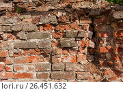 Купить «Background from old clay red brick», фото № 26451632, снято 27 мая 2017 г. (c) Anatoly Timofeev / Фотобанк Лори