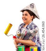 Купить «Repair home woman holding paint roller for wallpaper.», фото № 26454060, снято 22 марта 2017 г. (c) Gennadiy Poznyakov / Фотобанк Лори
