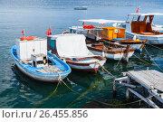 Купить «Colorful wooden fishing and pleasure boats», фото № 26455856, снято 30 июня 2016 г. (c) EugeneSergeev / Фотобанк Лори