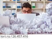 Купить «Businessman in paper recycling concept in office», фото № 26457416, снято 28 февраля 2017 г. (c) Elnur / Фотобанк Лори