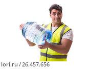 Купить «Man delivering water bottle isolated on white», фото № 26457656, снято 6 марта 2017 г. (c) Elnur / Фотобанк Лори
