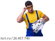 Купить «Carpenter wearing coveralls with circular saw isolated on white», фото № 26457740, снято 10 мая 2017 г. (c) Elnur / Фотобанк Лори