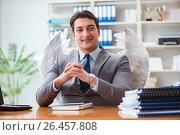 Купить «Angel investor concept with businessman and wings», фото № 26457808, снято 3 февраля 2017 г. (c) Elnur / Фотобанк Лори