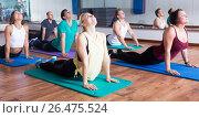 Купить «People relaxing and enjoying yoga», фото № 26475524, снято 20 марта 2019 г. (c) Яков Филимонов / Фотобанк Лори