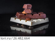 Pieces of milk chocolate with almonds and tiles of white chocolate with hazelnuts on a dark old glossy background. Стоковое фото, фотограф Ольга Соловьева / Фотобанк Лори