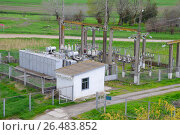 Купить «Electrical substation for power supply to an industrial facility», фото № 26483852, снято 9 апреля 2017 г. (c) Леонид Еремейчук / Фотобанк Лори
