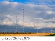 """Купить «Towers of long-wave communication """"Goliath"""". Radio equipment for», фото № 26483876, снято 9 апреля 2017 г. (c) Леонид Еремейчук / Фотобанк Лори"""
