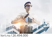 Купить «Business super hero double exposure», фото № 26494000, снято 19 июня 2019 г. (c) Сергей Петерман / Фотобанк Лори