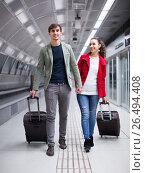 Купить «travellers moving through station», фото № 26494408, снято 21 марта 2019 г. (c) Яков Филимонов / Фотобанк Лори